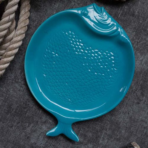 Flat Fish Plate - Light Blue Or Turquoise